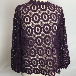 Long sleeve crochet lace blouse